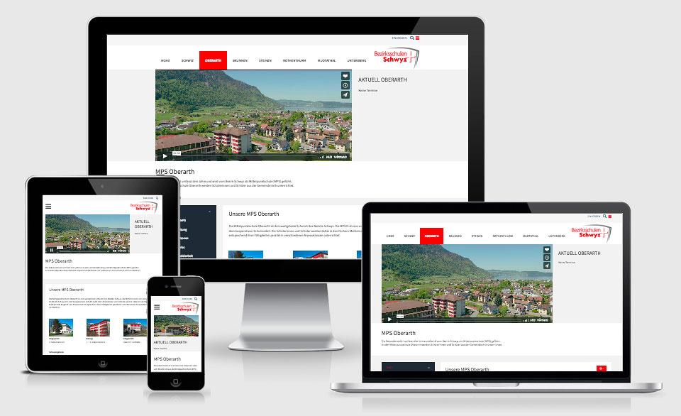 Responsive Webseite für Bezirksschulen Schwyz