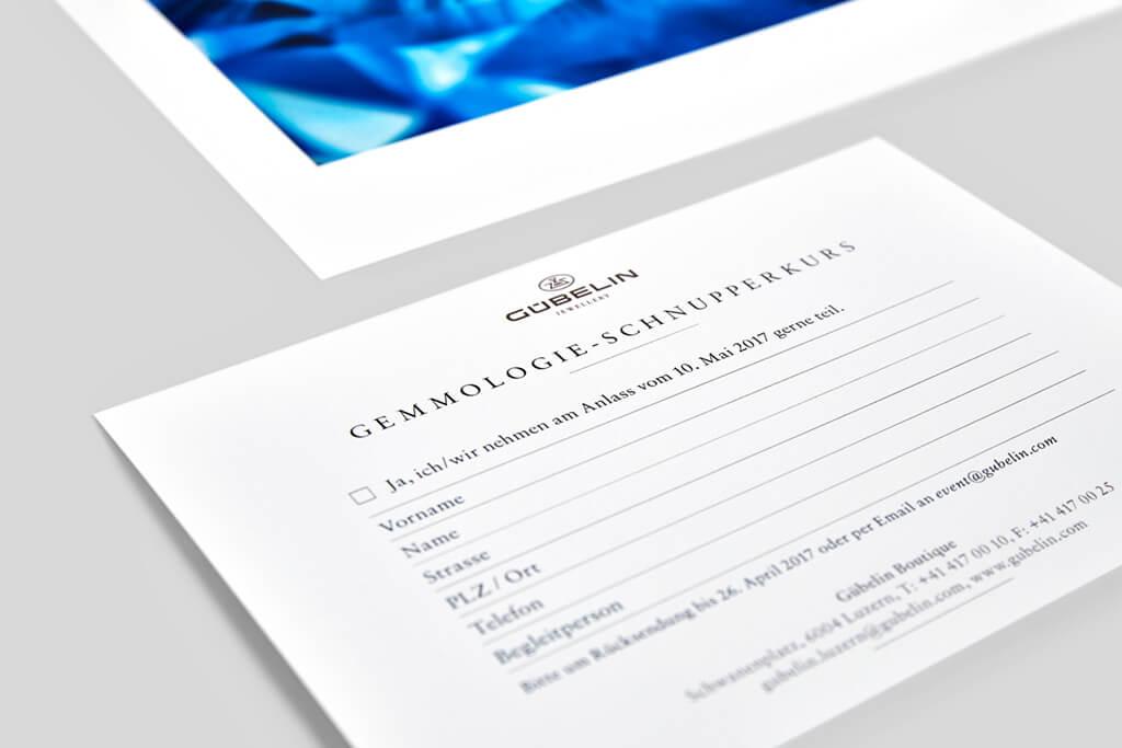 Gübelin Einladungskarte Gemmologie Workshop