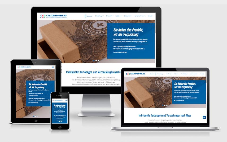 Redesign Webseite CAG Cartonnagen AG