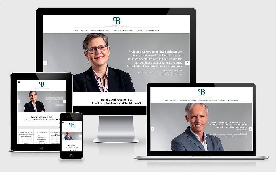 Responsive Webseite Bienztreuhand